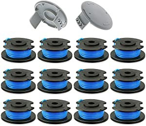 KAKO String Trimmer Line 0.065'' Replacement Spool for Ryobi One Plus AC14RL3A 18V 24V 40V Auto Feed Cordless Weed Eater Spools Line with AC14HCA Cap Covers (12 Spools + 2 Caps)