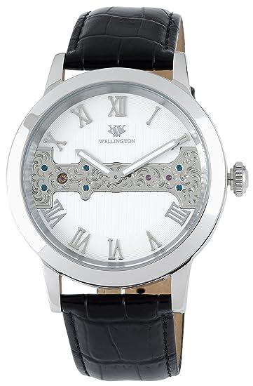 Wellington WN111-186 - Reloj analógico de caballero manual con correa de piel negra - sumergible a 50 metros: Amazon.es: Relojes