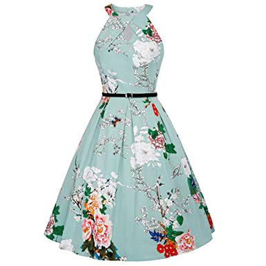 e269be213aa90 Floral Print Sleeveless Vintage 50s 60s Rockabilly Robe Femme ETE Party Retro  Dress Women