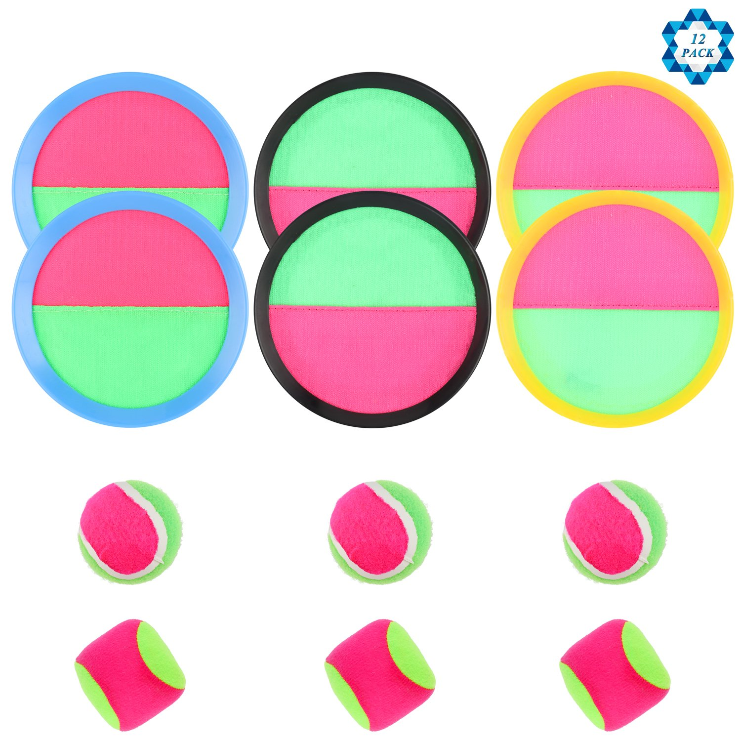 SOTOGO 12 Pack Paddle Toss and Catch Game Set Catch Ball Paddle Game Set Including 6 toss & catch paddles, 6 Balls