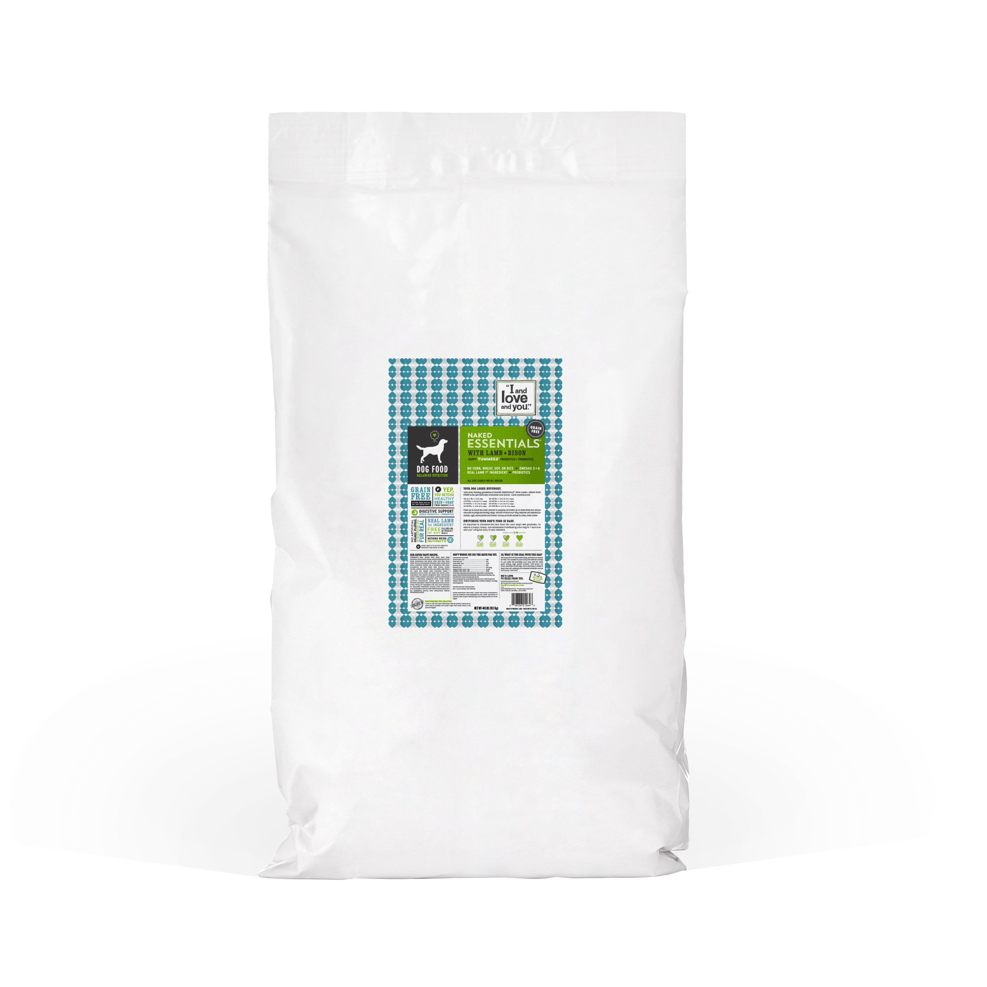 ''I and love and you'' Naked Essentials Lamb & Bison Grain Free Dry Dog Food, 40 LB by I and love and you (Image #1)