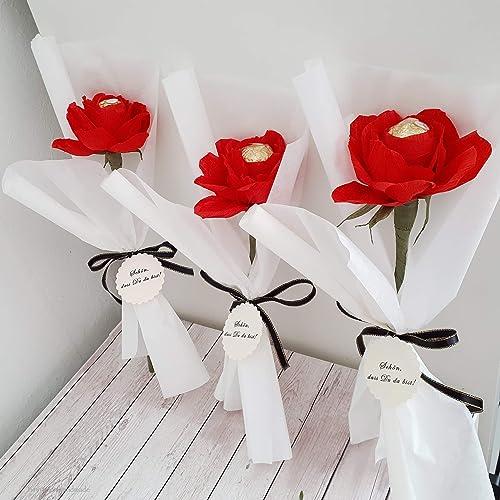 6 Personalisierte Rote Rosen Aus Krepppapier Mit Schokolade Als