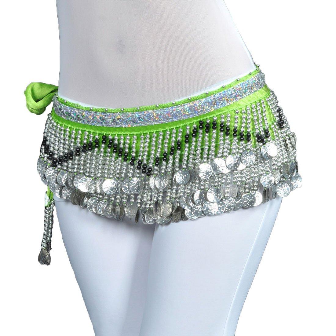 Calcifer Velvet Belly Dance Belt Wrap Hip Scarf Skirt Waistband with 258 Coins