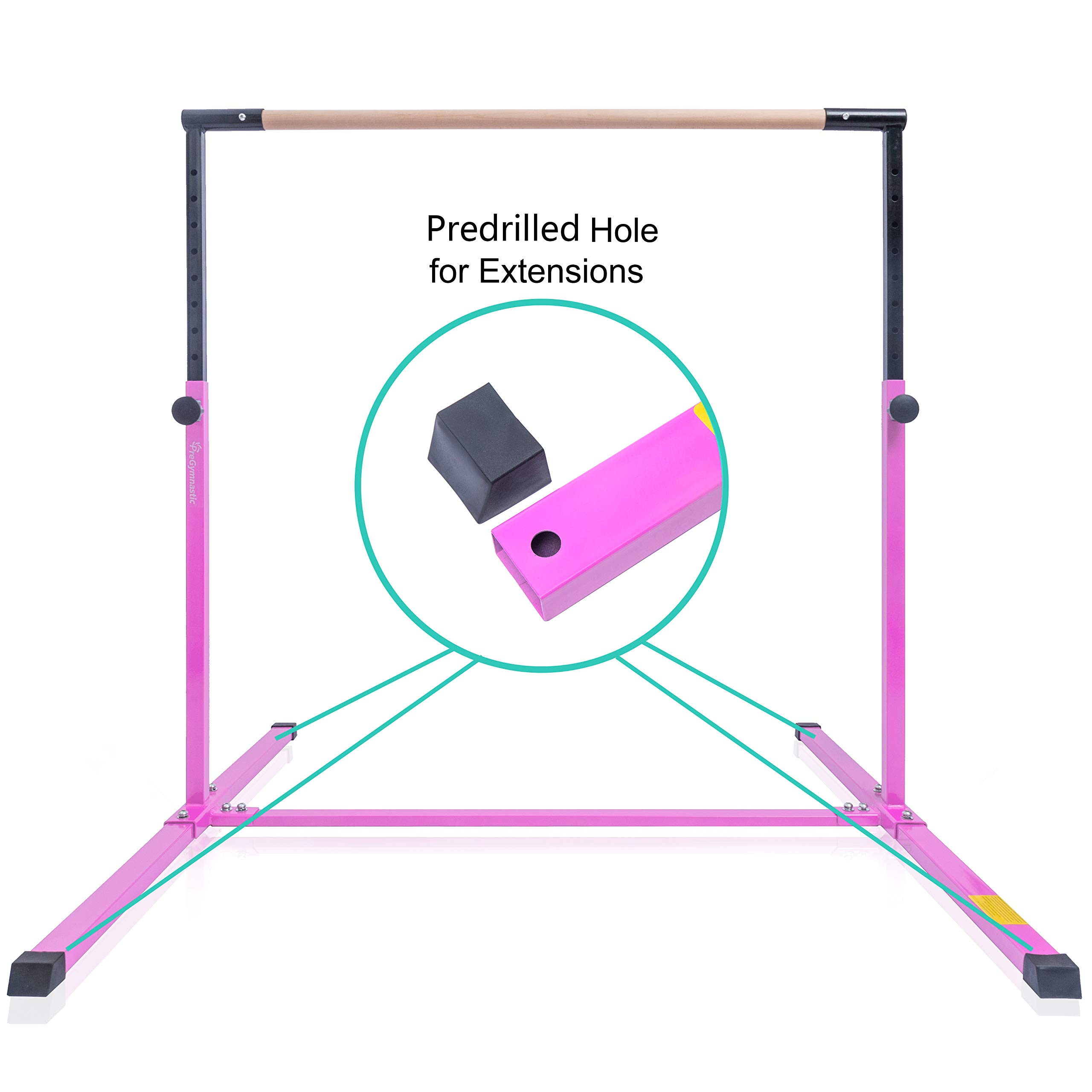 PreGymnastic Expandable & Adjustable(3'-5') Kip Bar with Predrilled Hole for Extensions/Junior Training Bar/Horizontal Training Bar with Bonus Shinning Sticker Inside