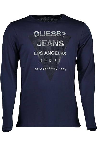 68efc9e3d265 Guess T Shirt Manica Lunga Uomo Blu  Amazon.it  Abbigliamento