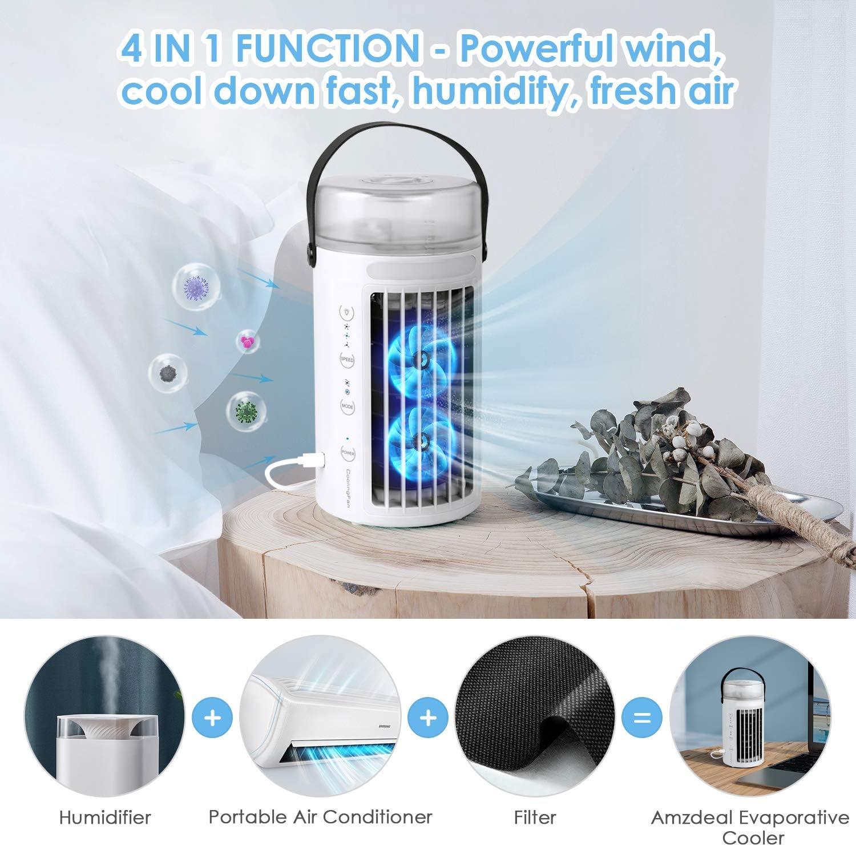 Enfriador de Aire Purificador de Aire amzdeal Aire Acondicionado Port/átil 3 velocidades Climatizador 4 en 1 Humidificador 7 Luces nocturnas para el hogar//Oficina//habitaci/ón USB Ventilador