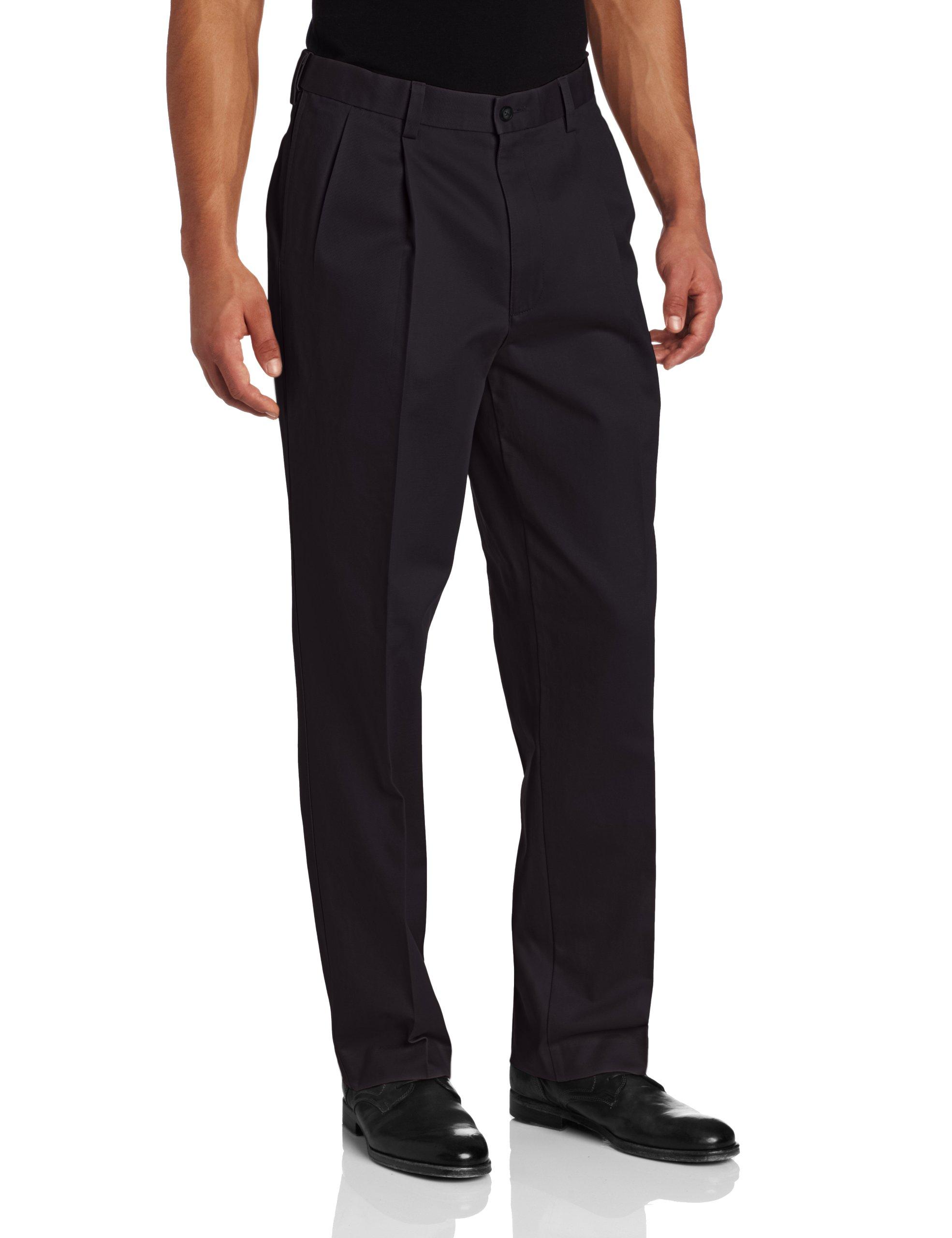 Savane Men's Pleated Performance Chino Pant, Classic Navy, 38W x 30L