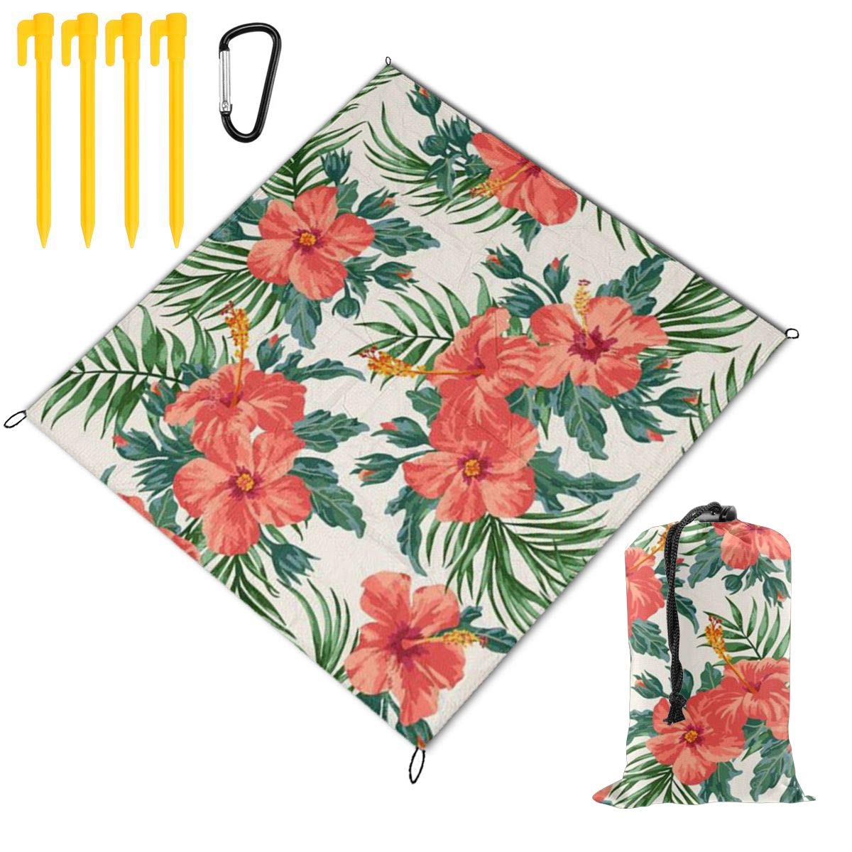 FunnyCustom Picnic Blanket Portable Waterproof Tropical Leaves and Flowers Picnic Mat for Beach Camping 79 x 57 Inch