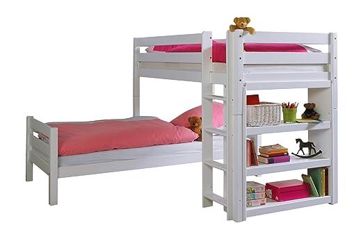 Etagenbett Holz 90x200 : Erst holz® etagenbett l form buche weiß 90x200 stockbett mit