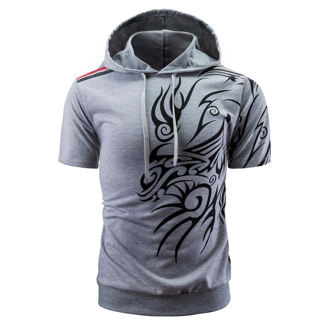 Mens Summer Fashion Hooded Pullover Short Sleeve Dragon Print Blouse Camis Tanks Kintaz T Shirt