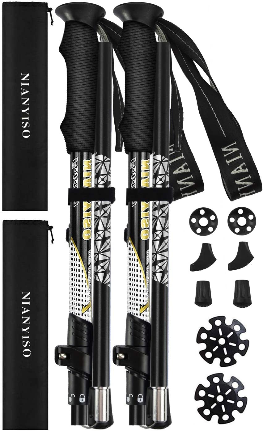 NIANYISO Hiking Poles Collapsible Lightweight for Height 5 3 -6 3 , 2 Pack Adjustable Trekking Poles Aluminum Hiking Walking Sticks Walking Poles with EVA Soft Foam Comfortable Handles for Man Women