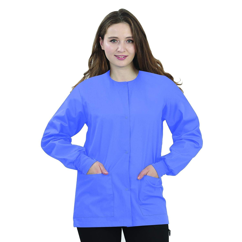 Ceil bluee MAZEL UNIFORMS Womens Scrub Jacket Warm UP Jacket with Snaps Many colors