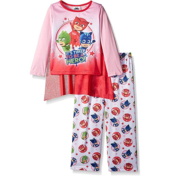 PJ Masks Girls Pajamas with Cape (2T, Hero Pink/Red)