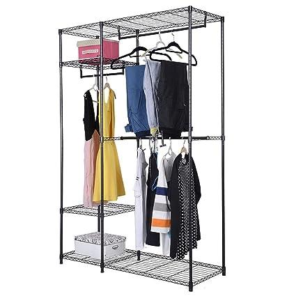 SortWise ® Black 3 Hanging Rod Adjustable Utility Closet Organizer Portable  Clothes Hanger Wardrobe Garment Rack