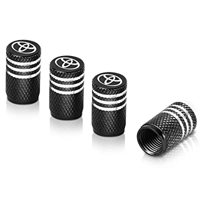 Qideloon Tire Valve Caps,Universal Valve Stem Caps with Logo Emblem for Cars, SUVs, Bike and Bicycle, Trucks, Motorcycles 4 Pieces (Black): Automotive