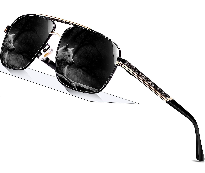 a9650fad79b SIPLION Men s Driving Polarized Rectangular Square Sunglasses Metal Frame  1823 Black  Amazon.co.uk  Clothing