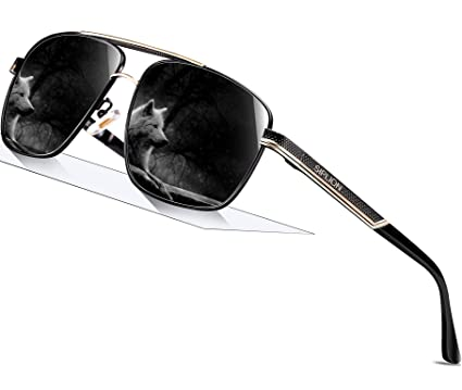 8f1a395b182 SIPLION Men s Driving Polarized Rectangular Square Sunglasses Metal Frame  1823 Black