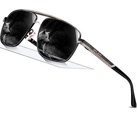 eaae11476b SIPLION Men s Driving Polarized Rectangular Square Sunglasses Metal Frame  1823 Black