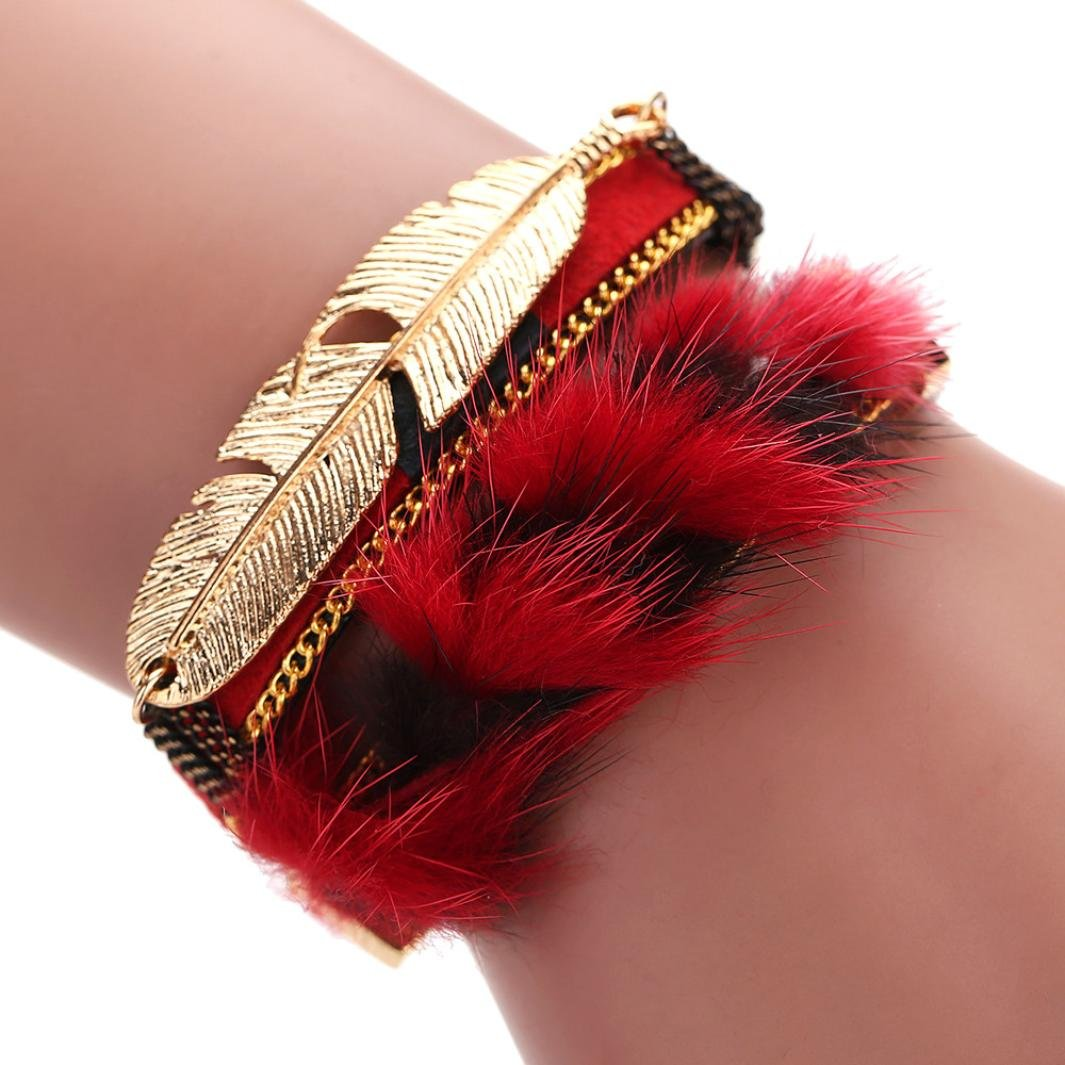DENER Bohemian Magnetic Feather Clasp Wrist Chains Braided Leather Cuff Bangle Wristband Stretch Bracelet