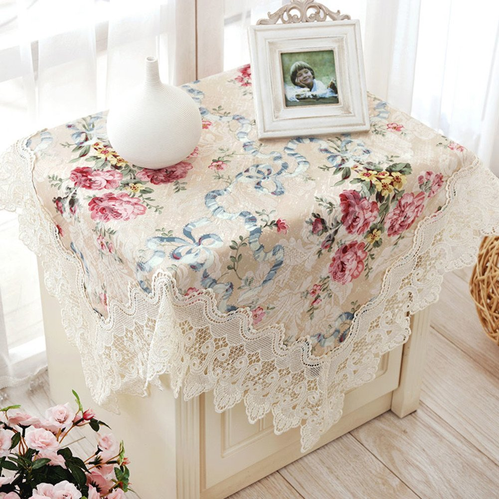 Thai Embroidery Fabric Bedside Table Cloth,Towel Round Lace Table Cloth, Color Table-A 150x210cm(59x83inch) by JIN Tablecloths