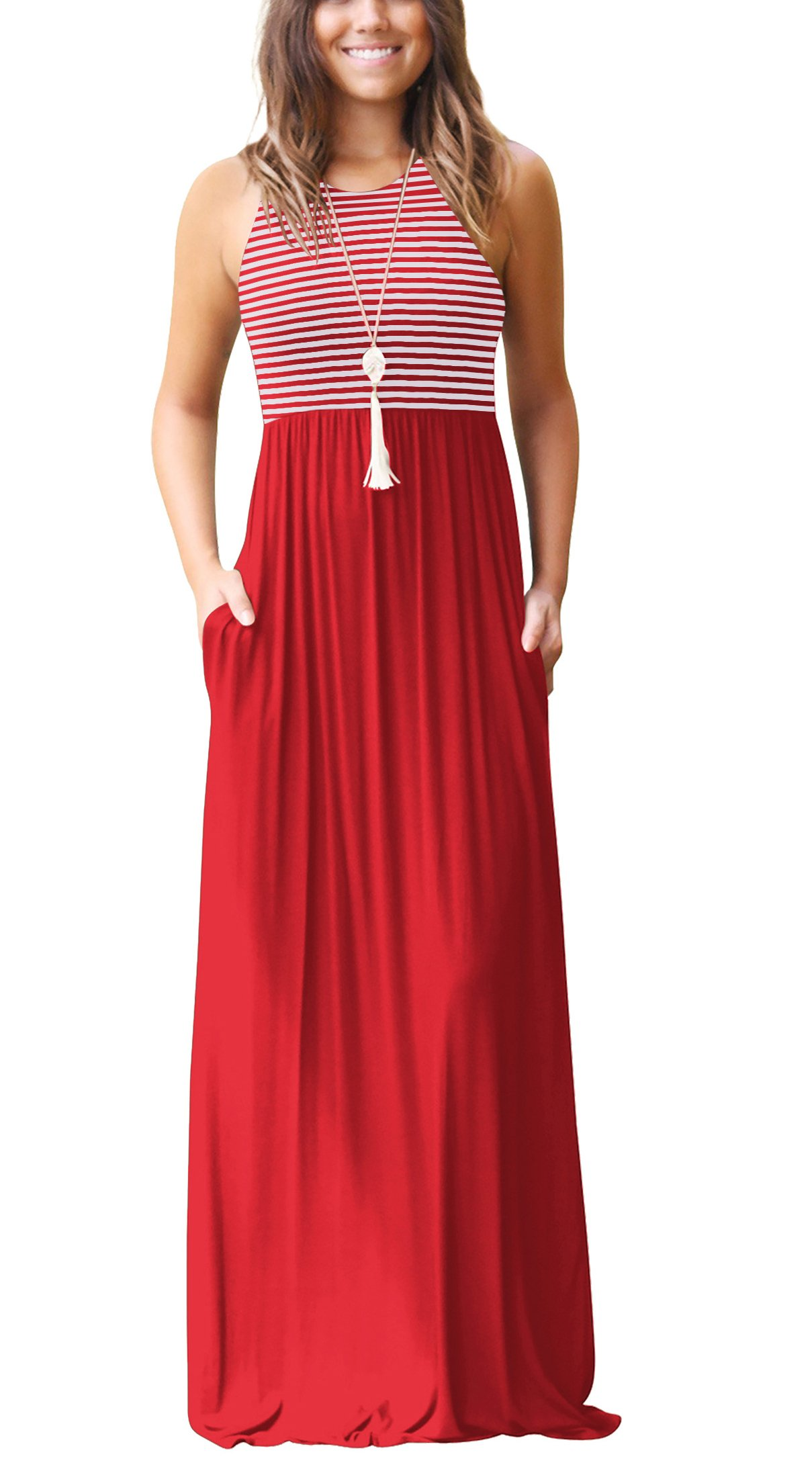 Haogo Womens Summer Round Neck Sleeveless Striped Long Maxi Dress with Pockets Red X-Large