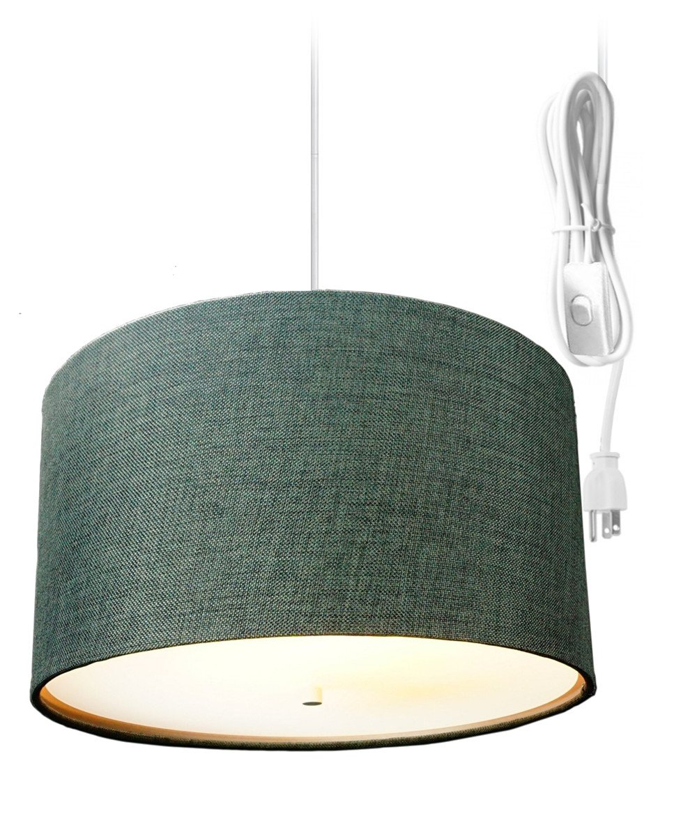 2 Light Plug-In Pendant Light By Home Concept - Hanging Swag Lamp Shallow Drum Granite Grey with Diffuser - Perfect for apartments, dorms, no wiring needed (Grey, White two-light) by HomeConcept