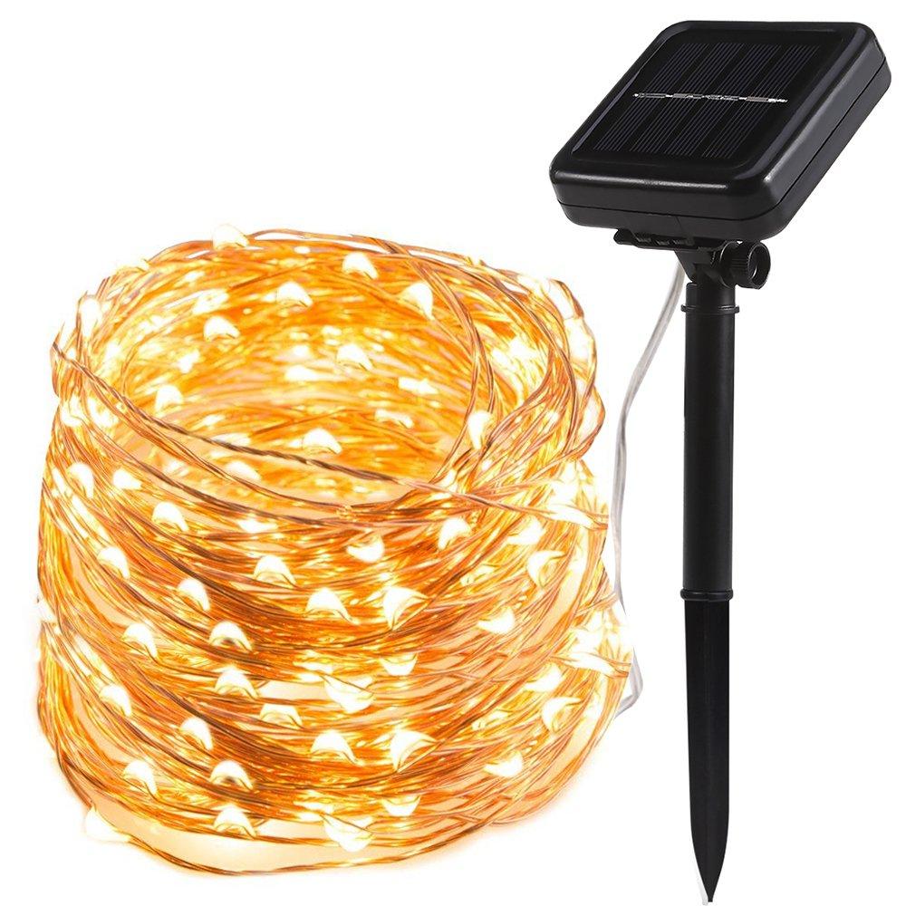 TryLight - Catena di 200 luci a LED a energia solare, luce bianca calda, 22 m, filo di rame, 8 modalità di illuminazione, impermeabili, IP65, per interni ed esterni, per Natale, matrimonio, Halloween TSDC03