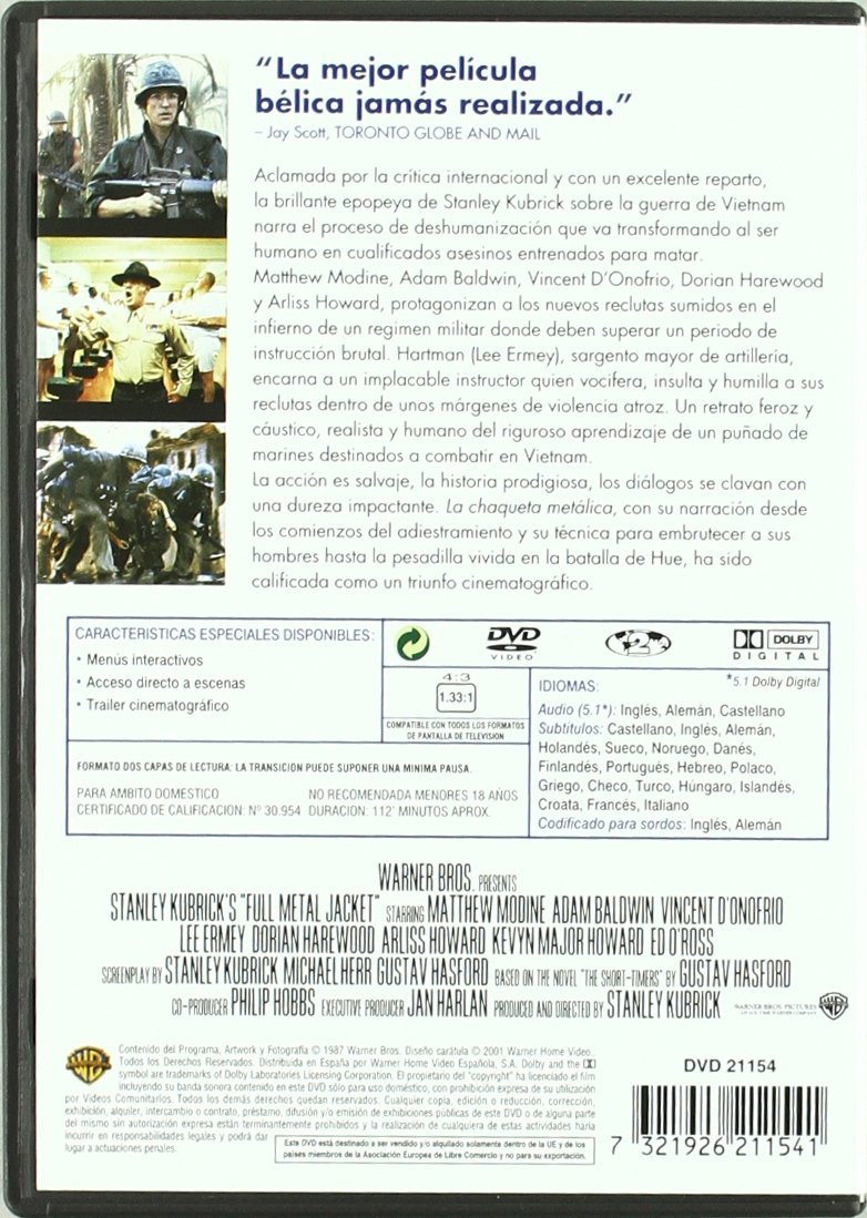 Amazon.com: La Chaqueta Metálica (Stanley Kubrick Collection) (Import Movie) (European Format - Zone 2) (2001) Matthew: Movies & TV