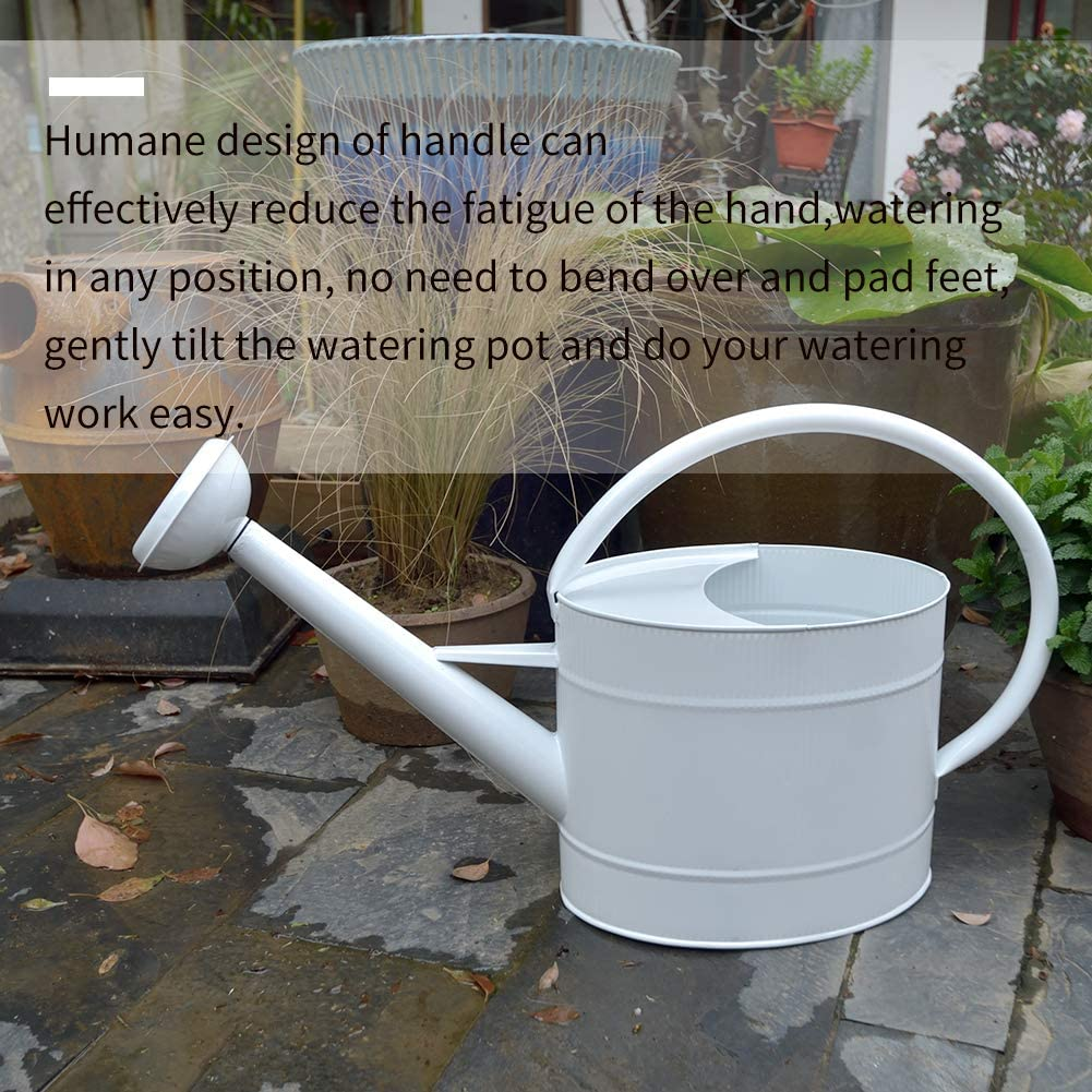 1.3 gal//White HORTICAN Galvanized Watering Can Modern Style Watering Pot with Handle and Rosehead for Outdoor and Indoor House Plants