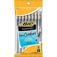 BIC Round Stic Grip Xtra Comfort Ballpoint Pen, Medium Point (1.2mm), Black, 8-Count