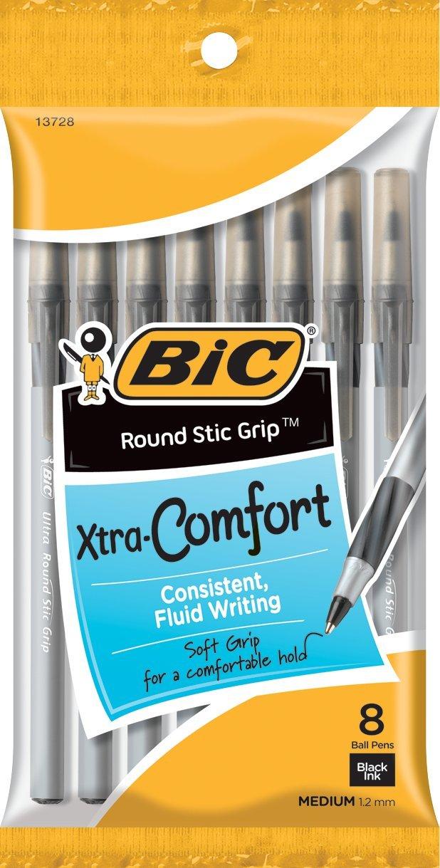 8 x BIC Round Stic Grip Xtra Comfort Ballpoint Medium Point