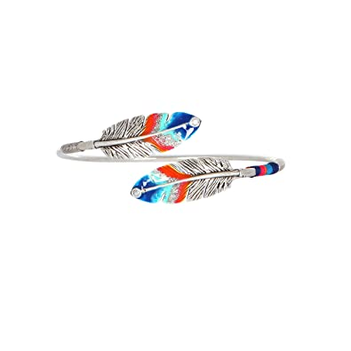 Gas Bijoux Women's Silver Plated Brass Multicolour Feather