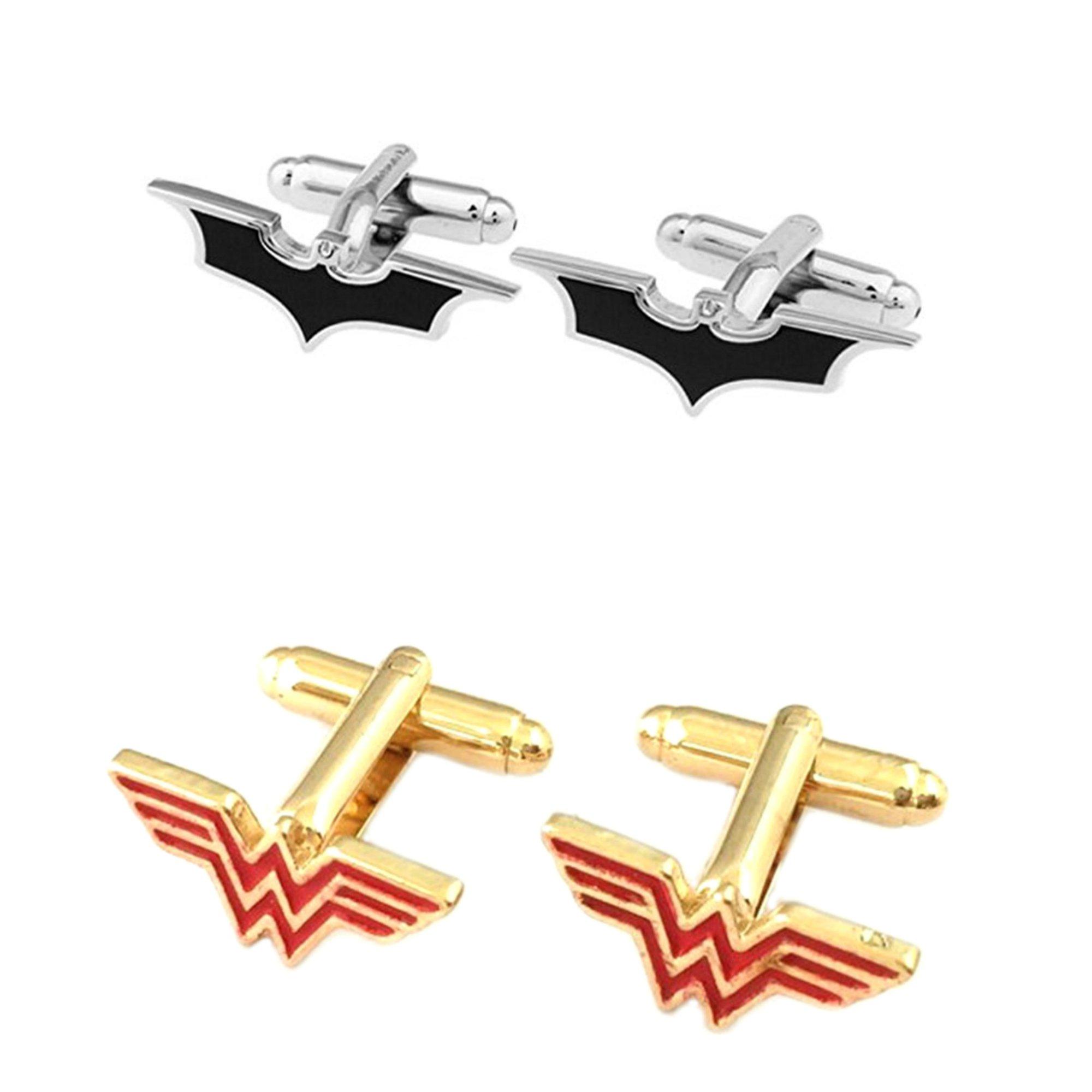 Outlander Gear DC Comics 2 Pairs Batman Logo Cutout & Wonder Woman Red Gold Superhero 2018 Movie Mens Boys Cufflinks