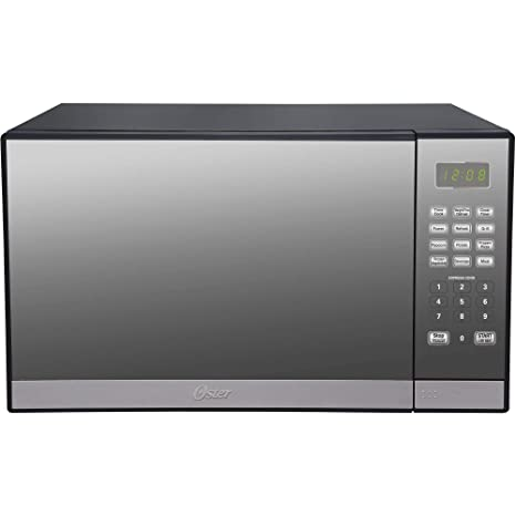 Oster 1.3 Cu. Ft. Microwave Oven with Grill, Stainless Steel with Mirror Finish (L x W x H) 23.46 x 19.96 x 15.35 Inches
