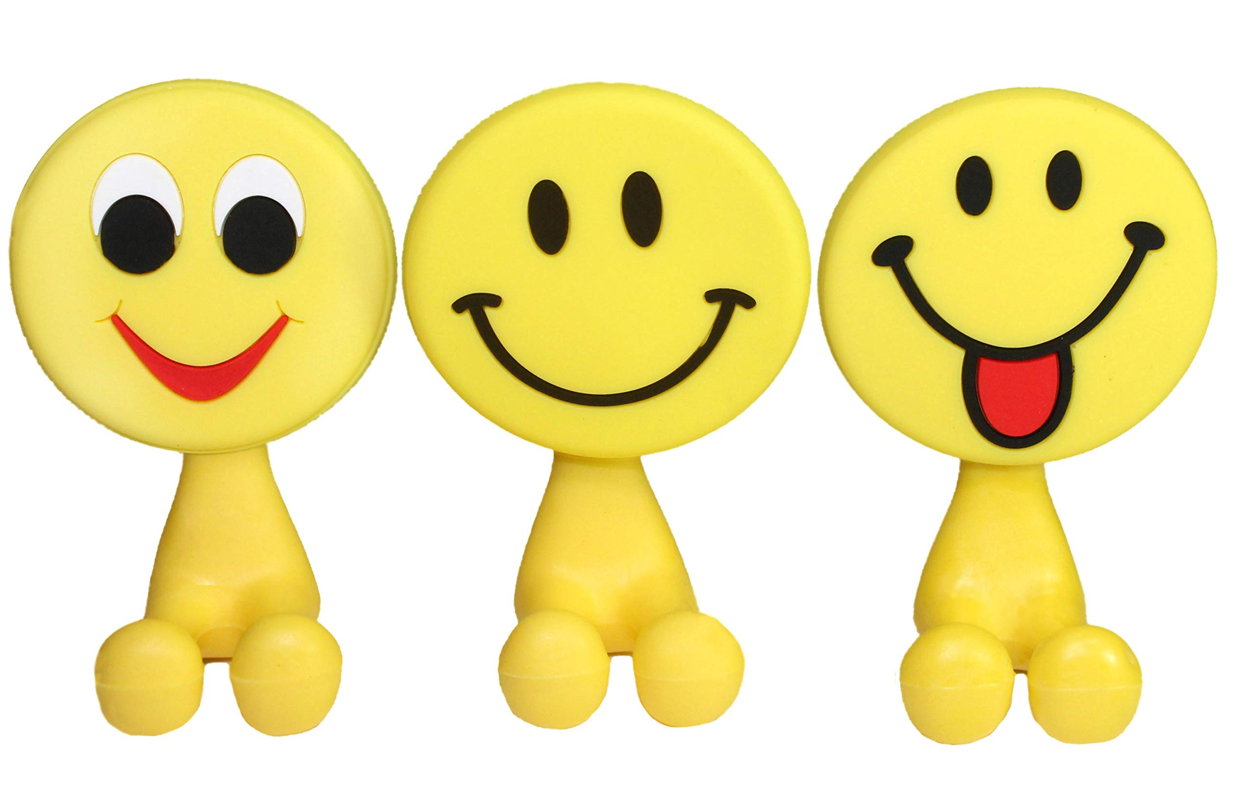 Lucore Happy Smiley Face Toothbrush Holder & Utility Suction Hook - Set of 3 Pcs Emoji Emoticon Style Rubber Wall Hanger Hooks by Lucore Home