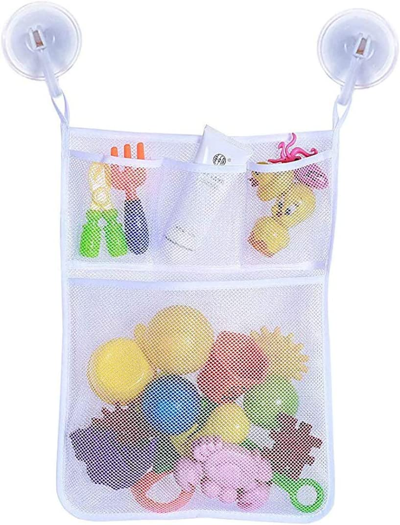 Glucktrade Baby Bath Toy Organizer Storage Extra Large Kids Mesh Net Storage Bag Organizer Holder with Two Heavy Duty Suction Cups for Toddler Bath Toys Pink 2