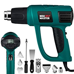 Heat Gun Variable Temperature, NEU MASTER N2030 Hot Air Gun with LCD Digital Display, 120°F-1200°F Temperature & Air Flow Adjustable and 6 Nozzles Attachments