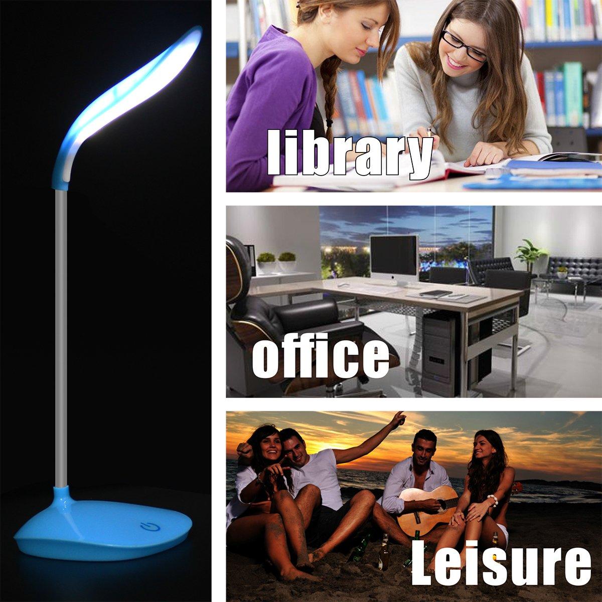 rosa Lampada da Tavolo a LED Luce di Lettura Portatile a 3 Livelli con Luce Soffusa