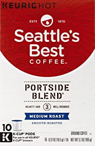 Seattle's Best Coffee Portside Blend (Previously Signature Blend No. 3) Medium Roast Single Cup Coffee for Keurig Brewers, 1 Box of 10 (10 Total K-Cup pods)