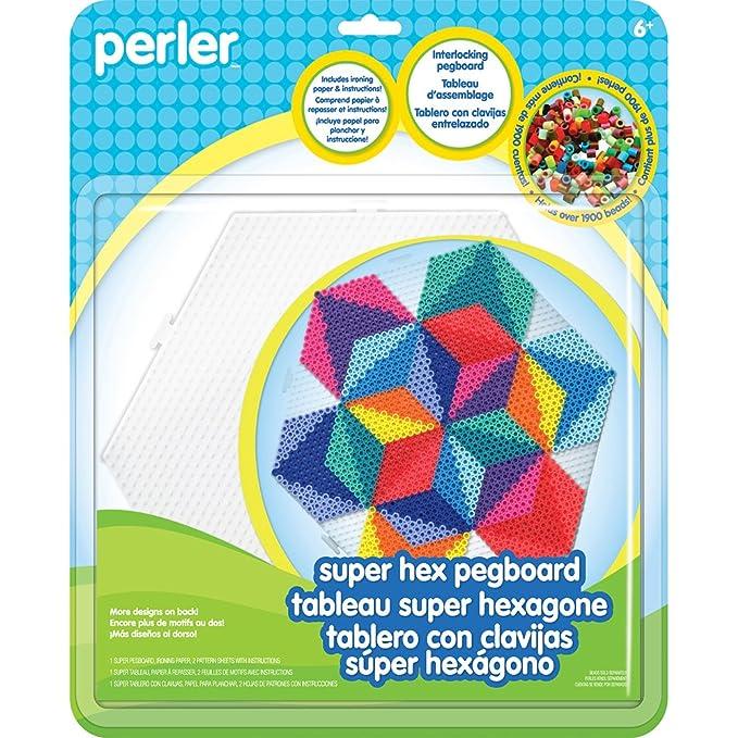 Amazon Perler Beads 80 26056 Super Hexagon Clear Pegboard