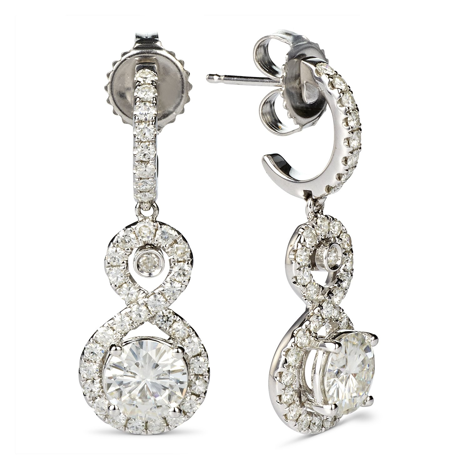 Forever Classic 6.0mm Round Moissanite Infinity Drop Halo Earrings, 2.32cttw DEW By Charles & Colvard by Charles & Colvard