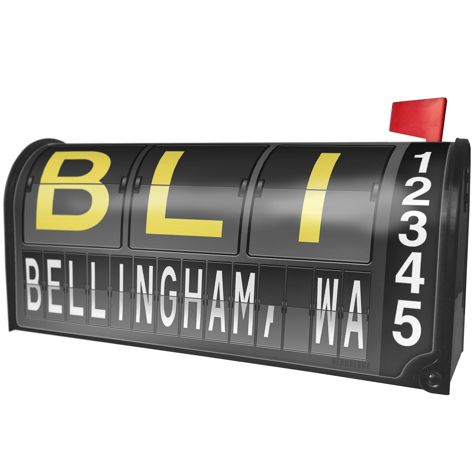 NEONBLOND BLI Airport Code for Bellingham, WA Magnetic Mailbox Cover Custom Numbers