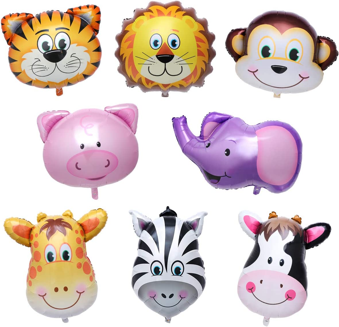TOYMYTOY Pack of 8 Safari Animal Balloons Foil Birthday Party Decorations DOWN TO £3.09 @ Amazon