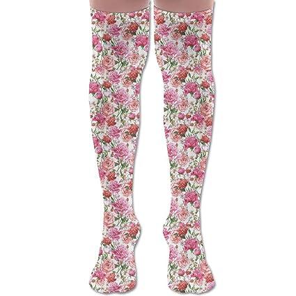 Calcetines de invierno para mujer, diseño de peonías y rosas, color ...