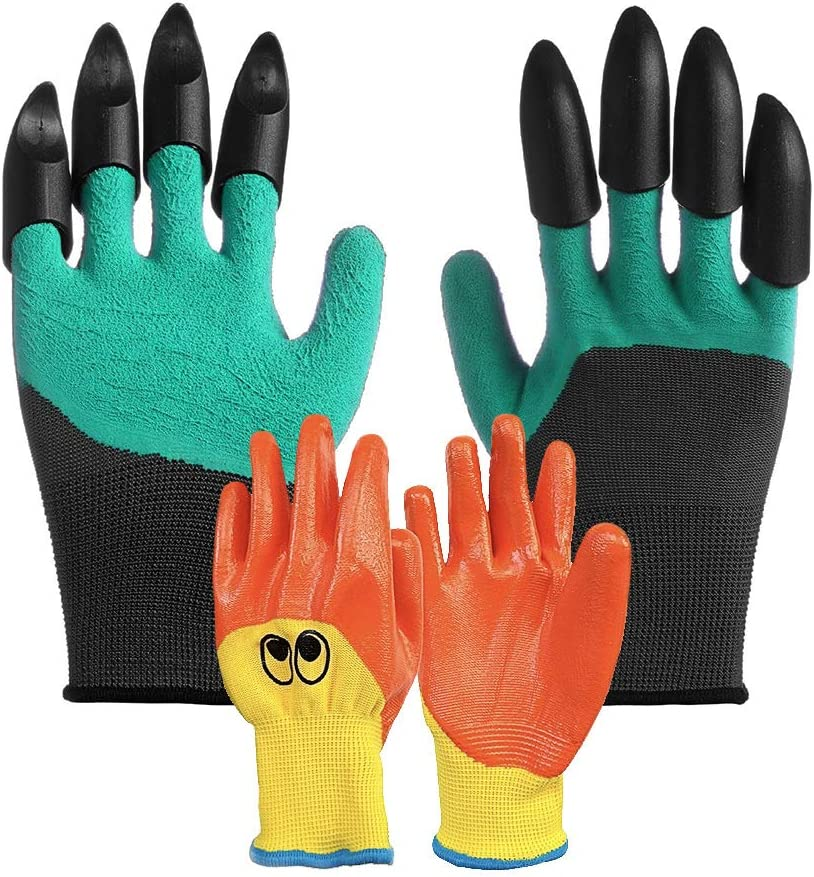 Parent-Child Garden Gloves-Kids Gardening Gloves for Age 4-13 Working Gloves for Women and Men.Waterproof Garden Gloves with Claw For Digging Planting, Weeding,Digging (2 Pairs)