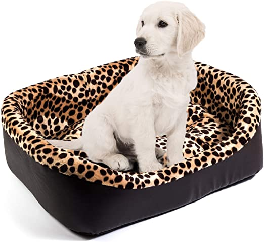 Boutique Zoo – Elegante cama para perros/marrón con piel de guepardo, piel sintética/Perros sofá, perros Cojín: Amazon.es: Productos para mascotas