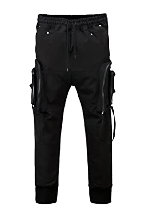 515ab0c0c93f5 ByTheR Men s Dark Techwear Multi Pocket Cargo Cotton Banding Black Pants  Slacks - Black - One