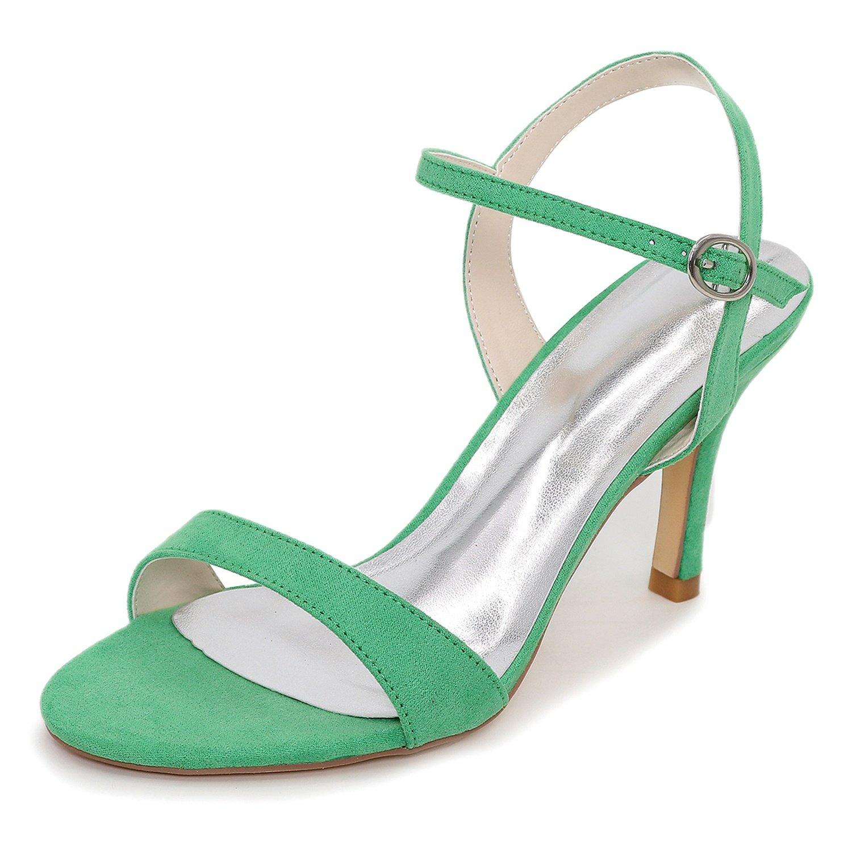 Elobaby Zapatos De Boda De Las Mujeres del OtoñO Sandalias De TacóN Medio SatéN Hebilla Noche Nueva Dama De Honor/8.5cm TalóN 36 EU|Green