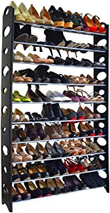 50 Pair 10 Tier Space Saving Storage Organizer Free Standing Shoe Tower Rack Holder