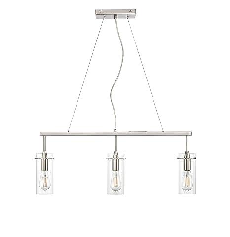 Effimero Pendant Lighting For Kitchen Island Brushed Nickel Small 3 Pendant Light Ll P331 Bn
